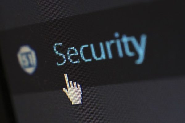 Data security, click security, cursor on security, cyber security option